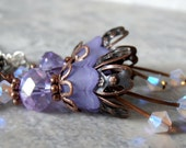 CLEARANCE SALE Lavender Flower Earrings in Antiqued Copper with Crystals
