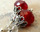 CLEARANCE SALE Red Earrings, Red Facted Glass Beaded Earrings with Crystals in Antiqued Silver