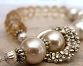 VALENTINES SALE Beaded Bracelet Beige Pearl Champagne Faceted Glass Beads Antiqued Silver, Handmade