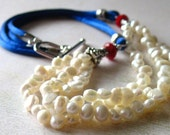 Nautical Beaded Necklace, Pearl Multistrand Beaded Necklace with Red Glass Beads and Blue Silk Cord