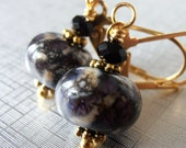 Lampwork Bead Earrings Black and Dark Purple Beaded Dangles Faceted Crystals Handmade Jewelry Gifts for Her Under 25