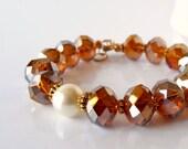 Copper Crystal Beaded Bracelet Ivory Pearl Brown Faceted Bead Jewelry Chunky Bracelet Crystal Jewellery