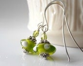 Lime Green Glass Bead Dangle Earrings White Polka Dot Beaded Jewelry in Silver