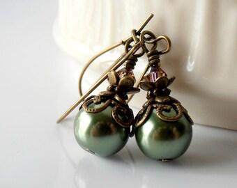 Dark Green Bridal Jewelry Green Pearl Earrings Rustic Fall Wedding Jewelry Pearl Dangles Antiqued Vintage Style Bridesmaid Earrings Handmade