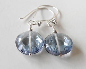 Blue Quartz Bridesmaid Earring Faceted Gemstone Dangle Sterling Silver Denim Blue Wedding Jewelry Bridesmaid Jewelry Blue Gemstone Earring