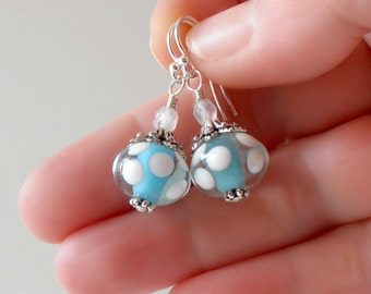 Aqua Lampwork Earrings Glass Bead Dangle Polka Dot Bead Earrings Lampwork Jewelry Blue and White Sterling Silver Gifts for Her Under 20