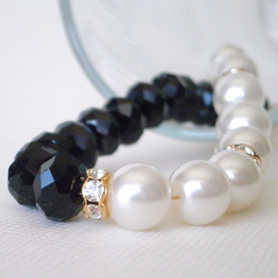 Black and White Beaded Bracelet Pearl and Crystal Party Jewelry in Gold Custom Length Option Beaded Jewellery