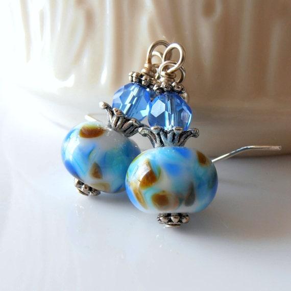 Lampwork Bead Earrings, Blue and Brown Speckled Lampwork Glass Bead Earrings in Antiqued Silver