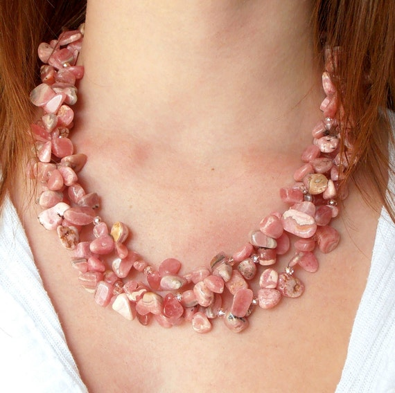 Chunky Necklace Pink Rhodochrosite Gemstone Pebble Multistrand Faceted Glass Beads Antiqued Bronze, Handmade