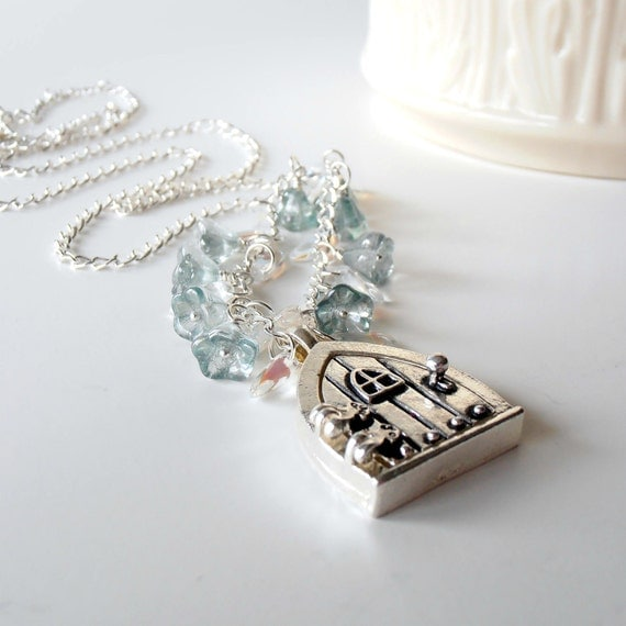 Locket Necklace, Fairy Door Locket Charm Necklace with Seafoam Glass Flowers and Clear Glass Petal Beads on Long Length Silver Chain
