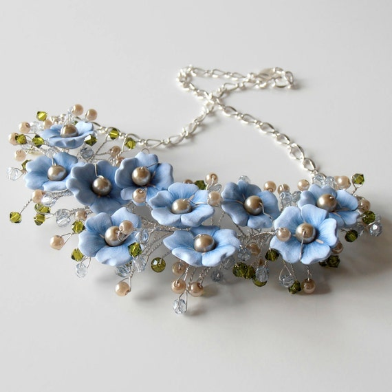 Blue Statement Necklace, Beaded Wire Necklace, Romantic Floral Bridal Jewelry, Flower Necklace, Twisted Wire