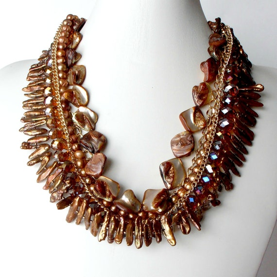 Beaded Statement Necklace Brown Jewelry Layered Multistrand Freshwater Pearls Faceted Crystals in Gold Statement Jewelry