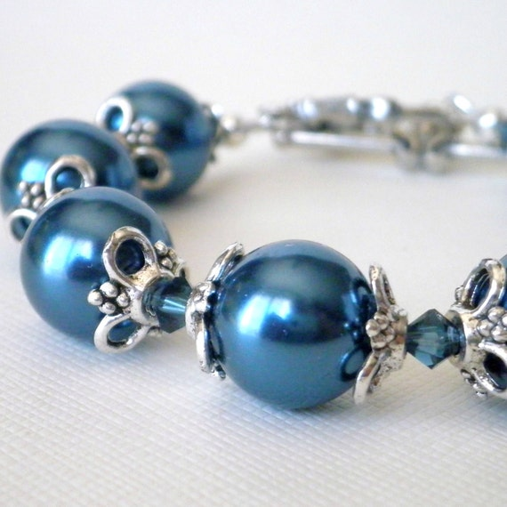 Chunky Midnight Blue Pearl Bracelet Vintage Style Antiqued Silver Beaded Jewelry Swarovski Crystals Toggle Clasp