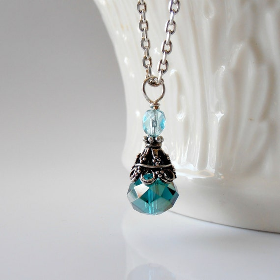 Teal Necklace Crystal Pendant Faceted Bead Aqua Czech Glass Antiqued Silver Beaded Jewelry