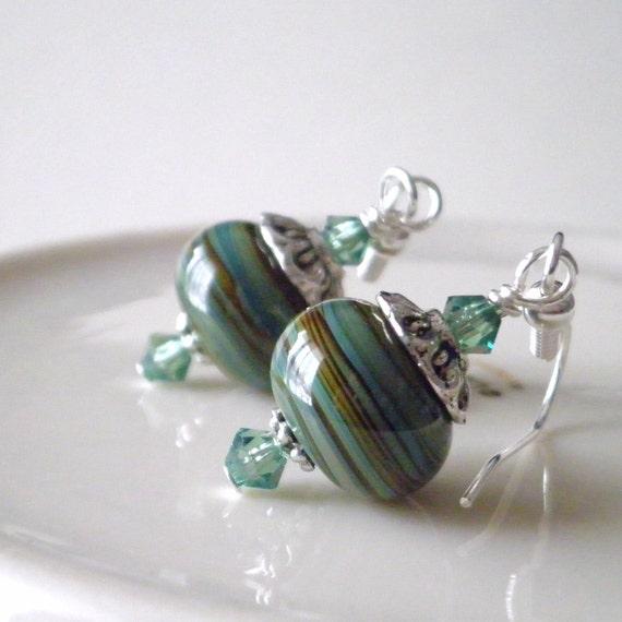 Lampwork Earrings Glass Bead Jewelry Green and Brown Swirl Swarovski Crystals Antiqued Silver Beaded Dangles Handmade Jewelry