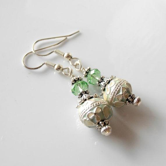 Beaded Earrings Mint Green Cloisonne Bead Dangles Peridot Crystals Antiqued Silver Beaded Jewelry Green Earrings