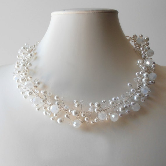 Handmade Wedding Jewellery Ideas : Bridal necklace white wedding jewelry pearl and crystal