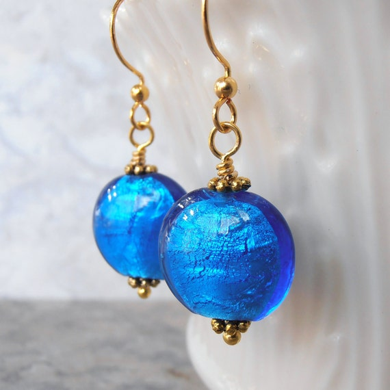 Bright Blue Earrings Round Foil Glass Bead Dangles Beaded Jewelry Antiqued Gold
