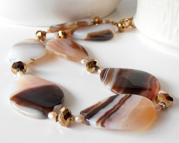 Chunky Necklace Big Agate Bead Jewelry Pink and Brown Agate Necklace Single Strand Agate Jewelry Beaded Necklace Handmade