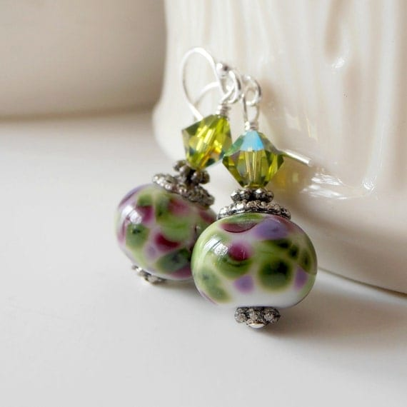 Beaded Jewelry, Violet and Olive Lampwork Earrings with Swarovski Crystals, Purple and Green Glass Bead Dangles, Handmade Jewellery