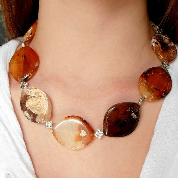 Chunky Necklace Fire Agate Big Beads Autumn Colors Fall Accessories Brown Orange Beaded Jewelry