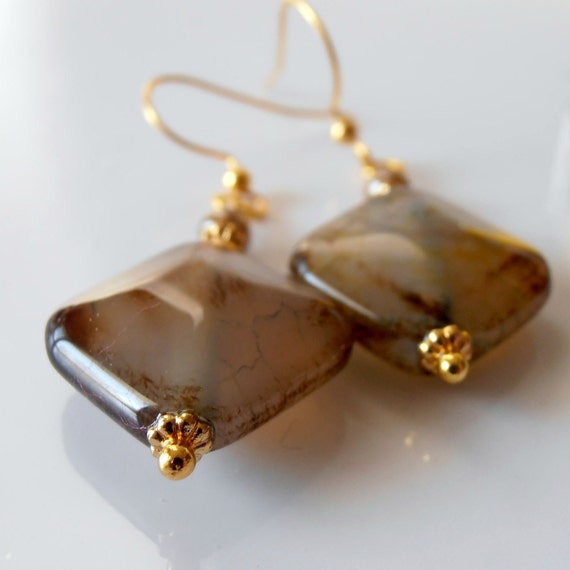 Brown Agate Geometric Bead Earrings Earthtone Dangles Diamond Shape Stones Gold Earring Wires Beaded Jewelry