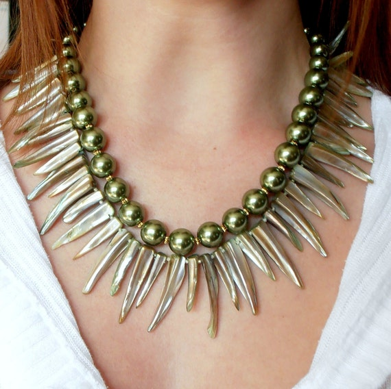 Statement Necklace Green Statement Jewelry Tribal Multistrand Necklace Statement Piece Handmade Jewelry Shell and Pearl