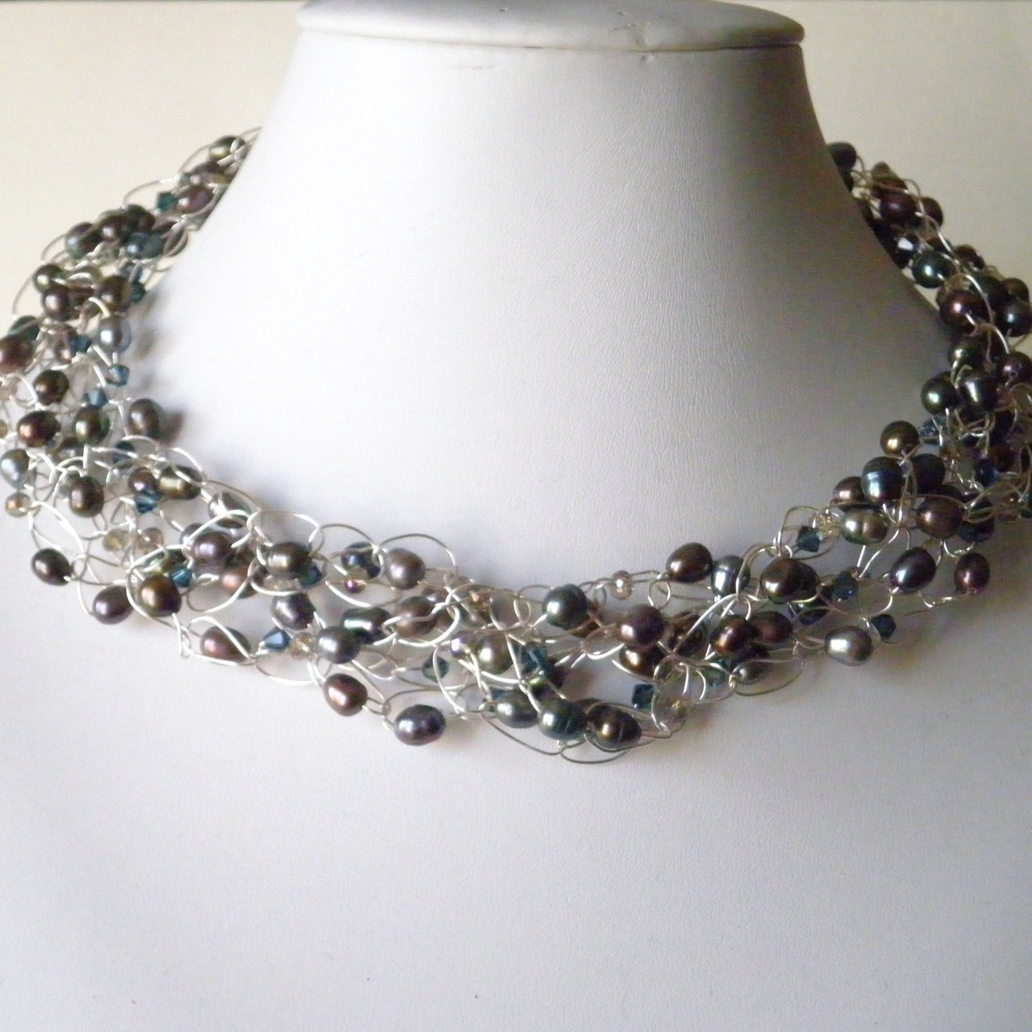 crochet wire necklace beaded peacock gray freshwater pearls