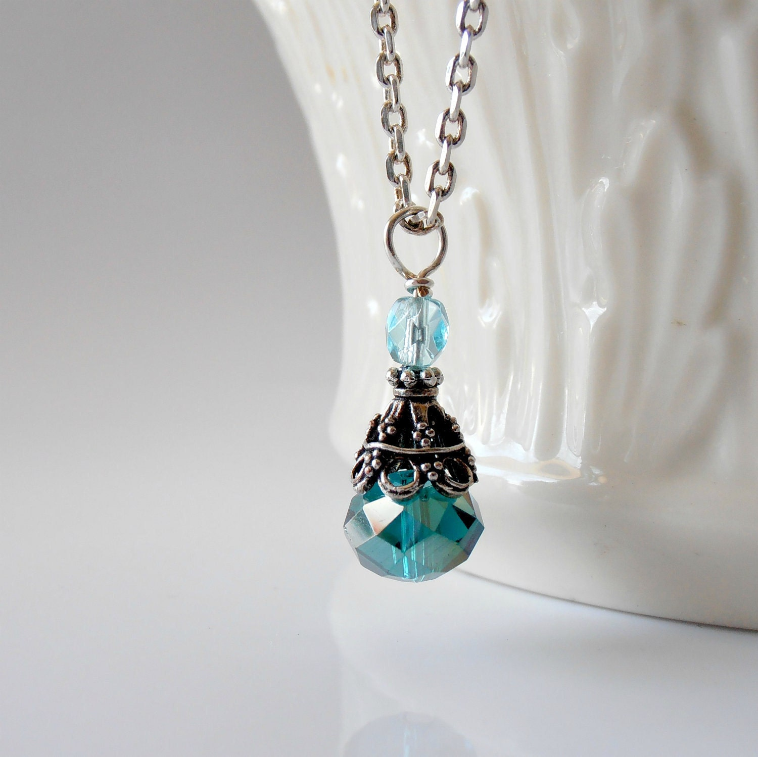 Teal Necklace Crystal Pendant Faceted Bead Aqua Czech Glass