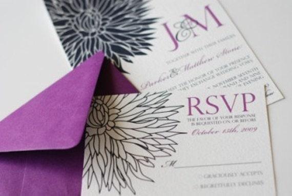 Blossom Noir Wedding Invitation and RSVP