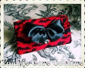 Rare Black and Red Bat Make Up Accessory Bag Anchor Black Satin Bow