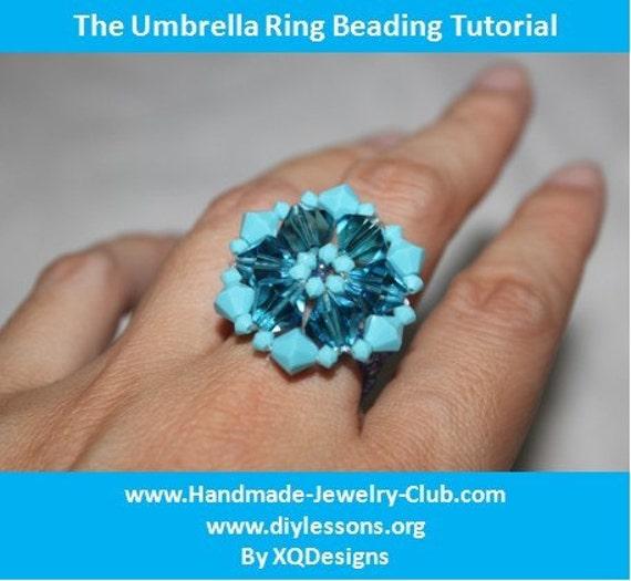 Beaded Umbrella Ring Jewelry Making Tutorial 93