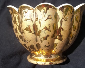 24 kt Gold Vase/ Bowl, Savoy like china / Cameron Clay Products, sometimes called weeping gold.  MADE IN USA