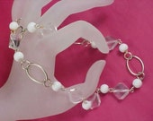 Lucite Crystal and White Bead Necklace