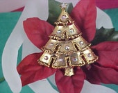 Christmas Tree Pin-Aurora Borealis Lights-Antiqued Gold Tone
