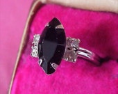 SARAH COVENTRY -  Onyx Marquise Cut & CZ Chaton Ring