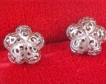 Spun Threaded Silver  ELOXAL  Filigree Post Earrings