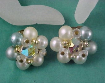 Designer 1940's JAPAN Hand Wired Simulated Pearls and Crystal Clip Earrings