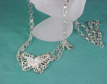 Diamante Figural BUTTERFLY Extra Long Silver Tone Necklace