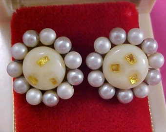 Ivory Glass Gold Fleck Simulated Pearl Signed Earrings