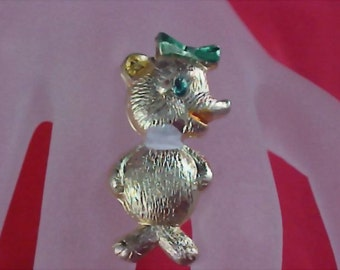 Textured & Enamel Repousse Kitty Brooch