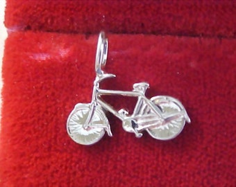 Silver Plated Bicycle Charm - 1960