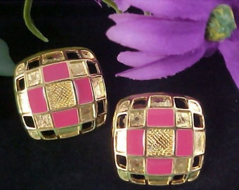 REDUCED~Dusty Rose and Gilt Gold Post Earrings