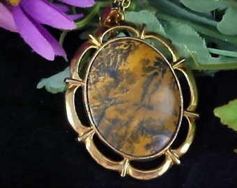 Reduced  50%~ Patterned GENUINE  JASPER Massive Oval Stone Pendant & Chain