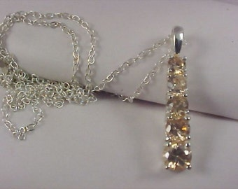 Champagne CZ Chaton Sterling Pendant Trademarked SU & Sterling Silver Chain Necklace