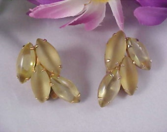 Juliana Yellow Amber Moonstone & Clear Marquise Cut Rhinestone Clip Earrings