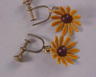 Golden Yellow Daisy All Metal Dangle Screw Back Earrings