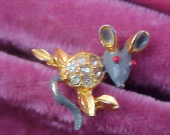 Gray & Red Enamel AND  Rhinestone Figural MOUSE Pin