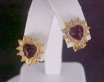 SPECIAL ~ Deep RUBY Red  Birthstone HEART & Diamante Clip Earrings