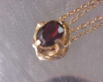 GARNET Birthstone  Pendant and Gilt gold Chain